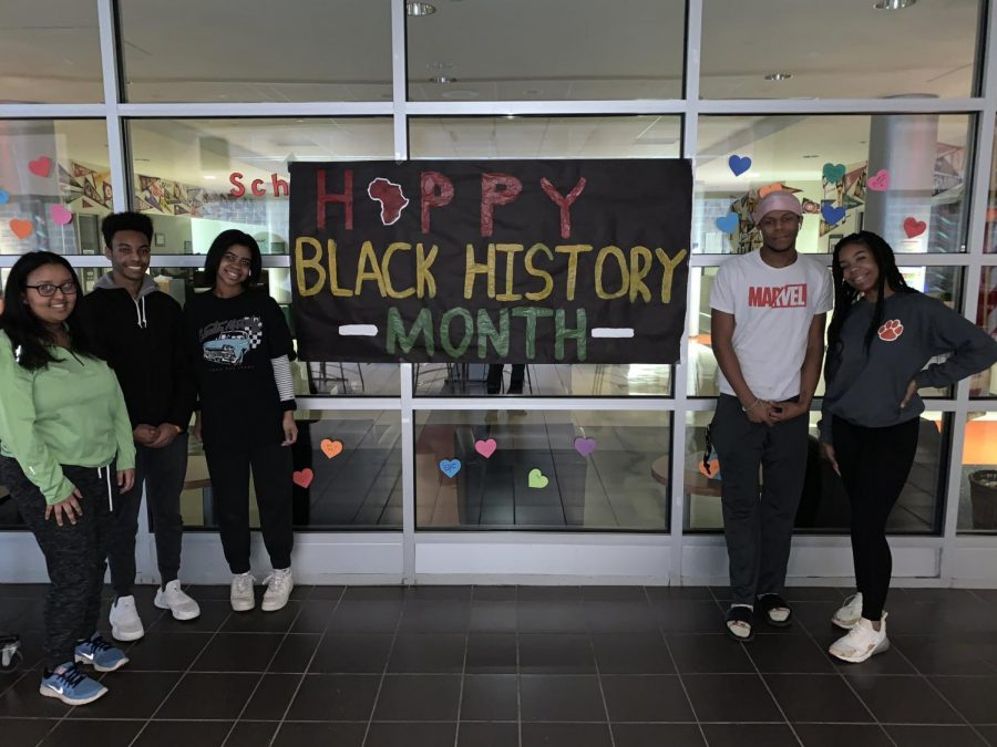 WWS's African American Advisory Committee decorates the commons for the month's festivities. Photo credit: Dave Claypool's Twitter